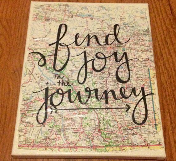 Find Joy in the Journey Map Travel Canvas Quote by kalligraphy, $35.00