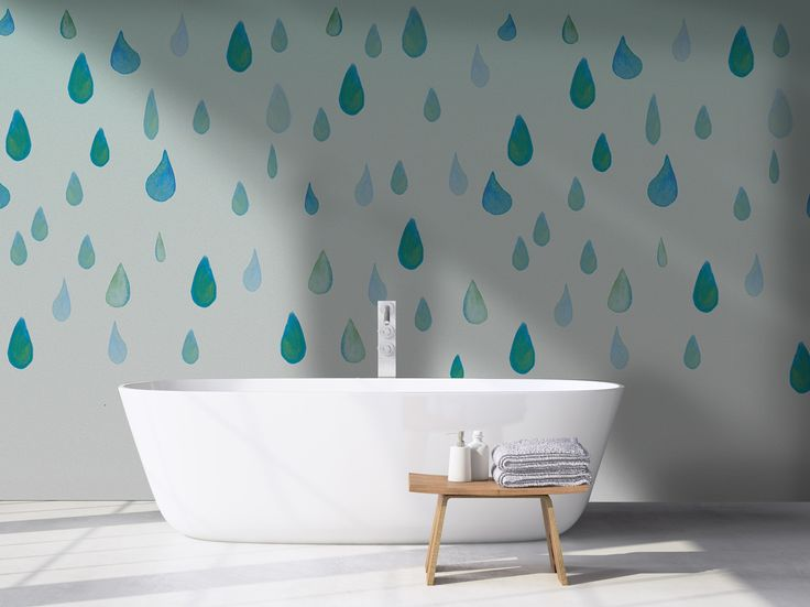 Buy Online Drops By Wall Lca, Adhesive Washable Bathroom Wallpaper, Bathroom  Collection