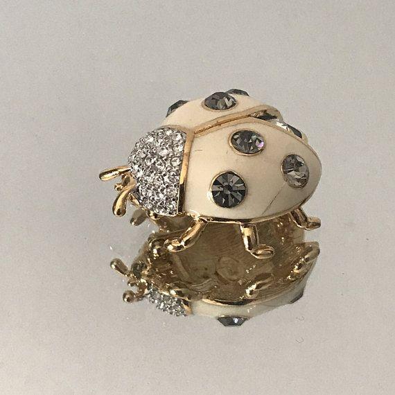 Vintage Joan Rivers ladybug brooch Joan Rivers Swarovski