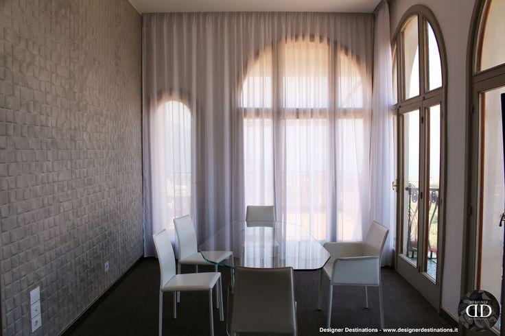 #FiberglassFloor #CrystalTable #regenerated #leather #chairs 
