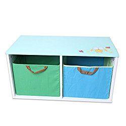 Labebe Wooden Children Storage Bins/Toy Box/Chest /Organizer for Baby Girls & Boys Toddler with 2 Baskets- Green & Blue