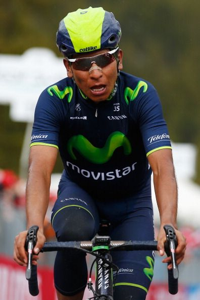 Nairo Quintana of Colombia and team Movistar crosses the line to win the…