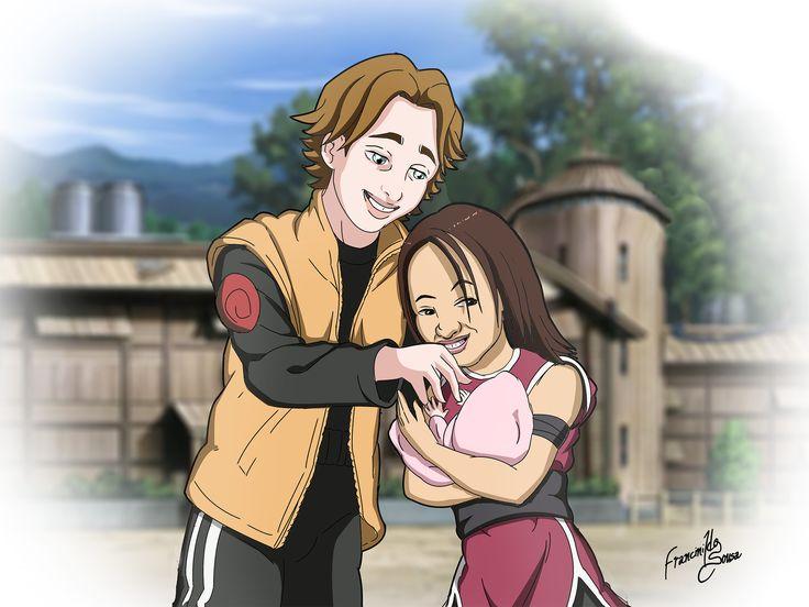 Ilustração de casal + Bebê estilo anime (Naruto) para adesivo.