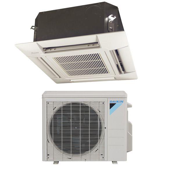 15 000 Btu Daikin 20 Seer Ceiling Cassette Ductless Mini Split Inverter Air Conditioner Heat Pump System 230 V Heat Pump System Heating And Cooling Cool Stuff