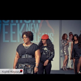 Catrice and Diva walking the runway at New Orleans Fashion Week.