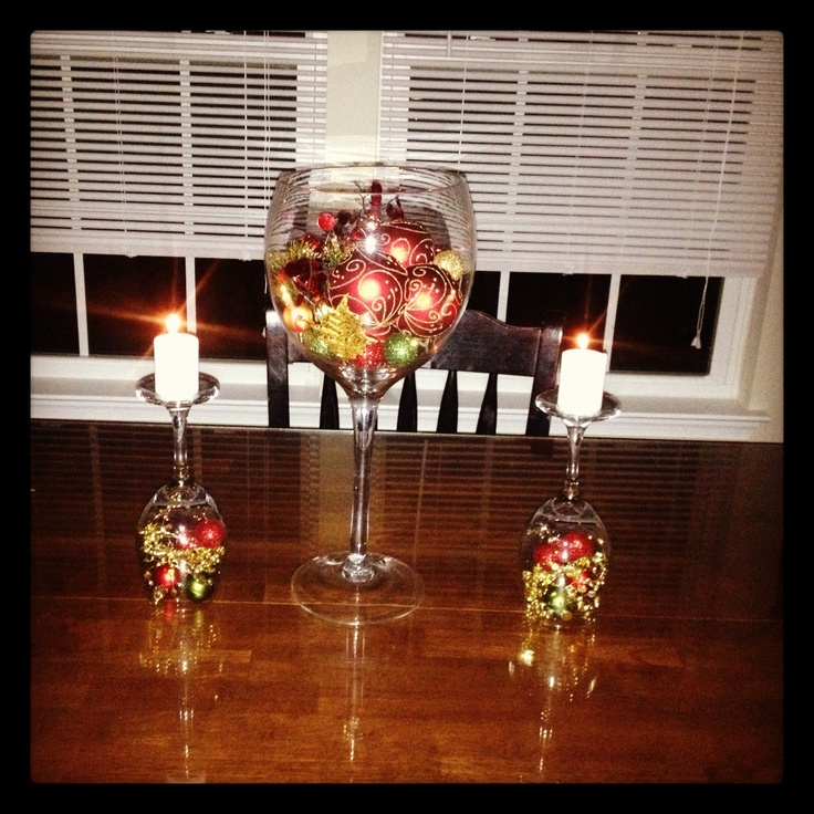 wine glass center piece to stick with my wine theme kitchen - Wine Themed Kitchen Ideas