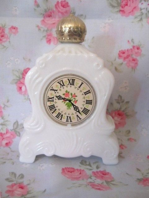 Lovely Vintage 1969 Avon Milk Glass Chic Ornate Victorian Clock Perfume Bottle Gold Lid Shabby Pink Roses Paris Cottage Collectible Decor by VintageChicPleasures on Etsy