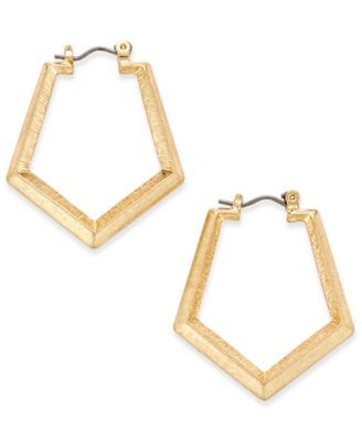 INC International Concepts Gold-Tone Geometric Hoop Earrings, Only at Macy's