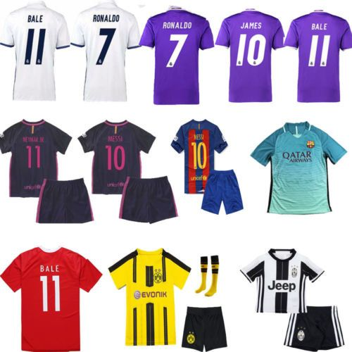 2017 new football #jersey kits short #sleeve+socks sets for 3-14 boys kids #youth,  View more on the LINK: http://www.zeppy.io/product/gb/2/152361743486/