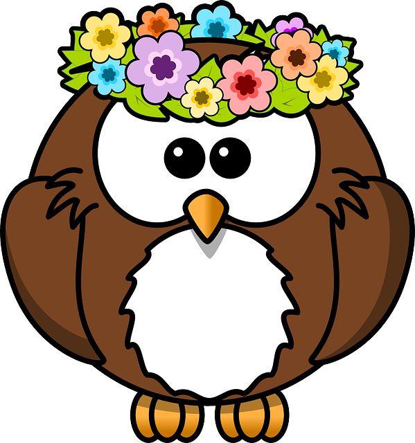 Sowa, Zwierząt, Ptak, Kwiaty, Zabawna, Garland, Wiosna