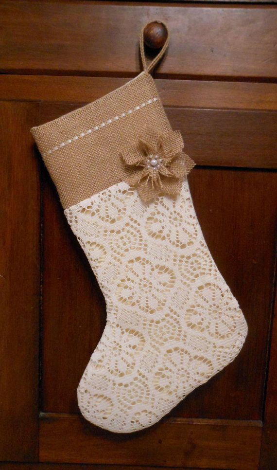 Burlap Christmas Stocking. Burlap and Lace by ThimblefulThreads, $31.00