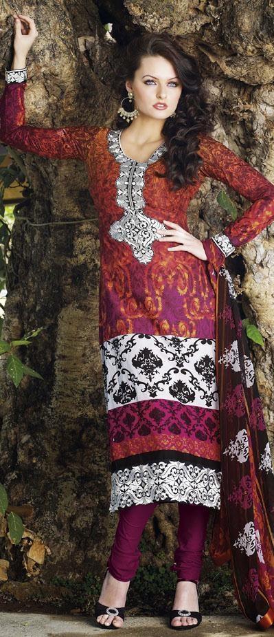 #Orange #Full #Sleeve #Printed #Pakistani #Style #Salwar #Suit.  http://www.shaadi.org.pk/