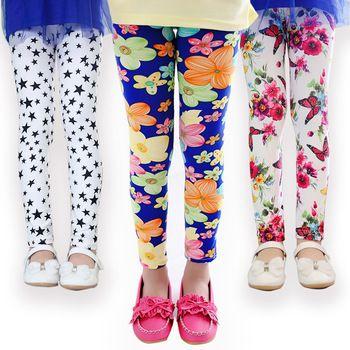 Calças da menina chegam novas Leggings de impressão Flor meninas leggings Criança Clássico 2-14Ybaby meninas leggings crianças leggings