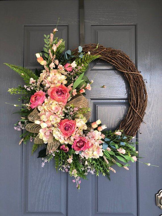 Mothers Day Easter Hydrangea Wreath Spring Wreaths Gift Ideas Farmhouse Wreaths Spring Wreath for Front Door Housewarming Gift