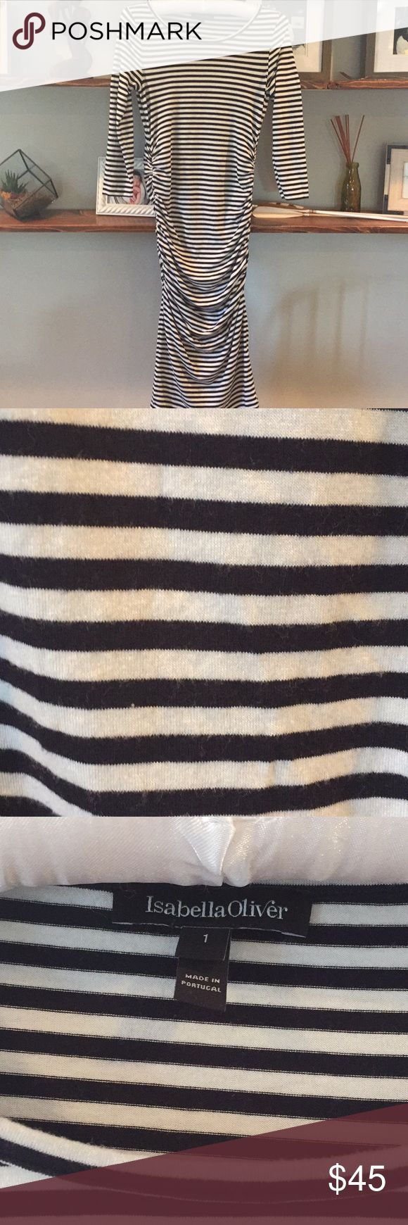 Isabella Oliver maternity fitted dress Isabella Oliver fitted maternity dress, black and white striped, 3/4 sleeve, minor pills on belly Isabella Oliver Dresses