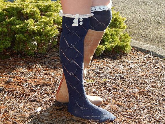 Diamond knit Knee High Button Boot Socks with Lace – Lacie Girl