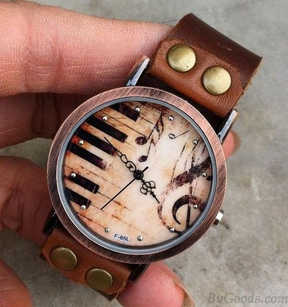 Oh my goodness… this is the most beautiful thing I've ever seen!! Handmade Piano Retro Leather Watch