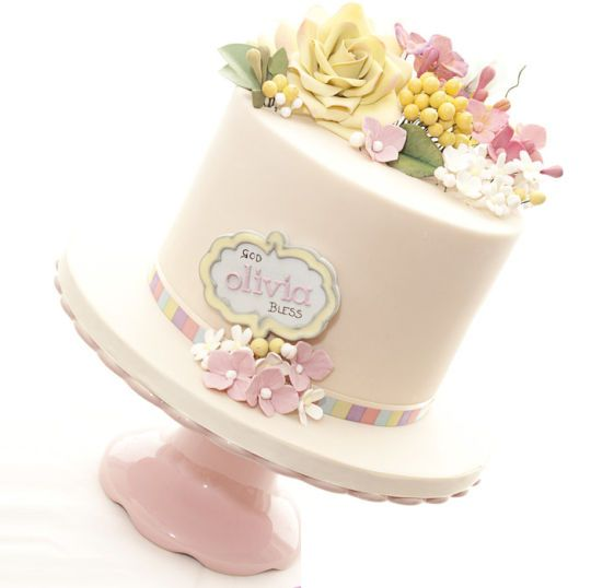 Babyshower cake decorated by lovely flovers, very elegent cake style from cakesdecor
