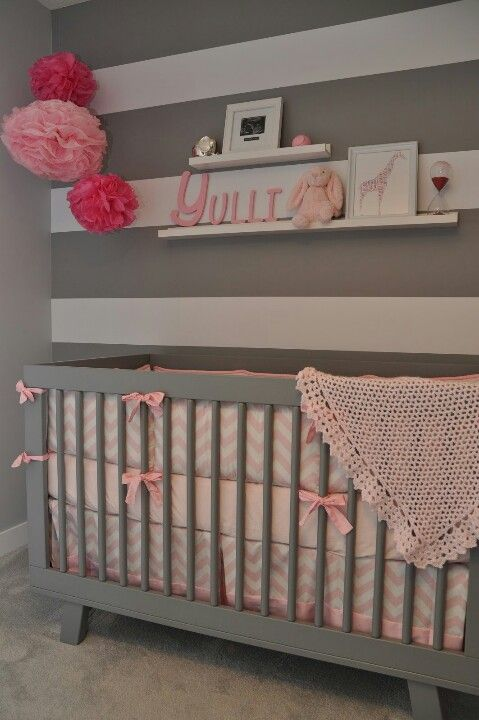 Baby room. Blue, painted crib