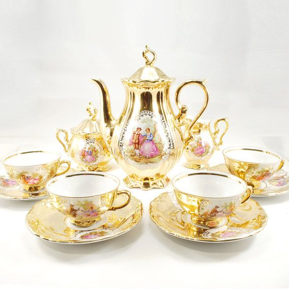 Gold Courting Couple fragonard Love Story tea by atelierAFdesign