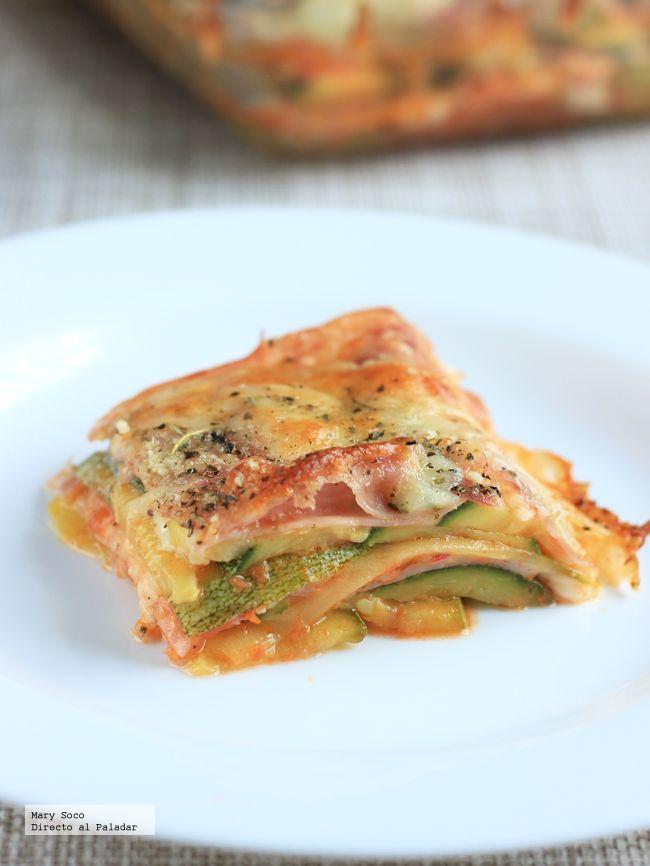 Lasagna Calabacitas, jamón de pavo y queso