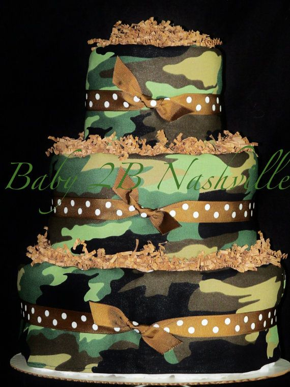 Diaper Cake for Boys Baby Diaper Cake Green and Brown Camo