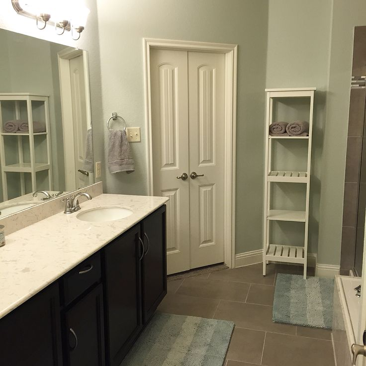 Wall color is Gray Cashmere by Benjamin Moore - the perfect blue/green/gray  balance for a great spa-like feel
