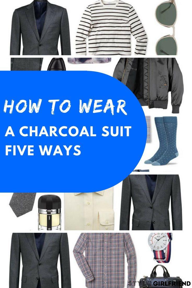 Check out how to wear a charcoal suit five different ways at stylegirlfriend.com | charcoal suit wedding, charcoal suit brown shoes, charcoal suit combinations, charcoal suit burgundy tie, color schemes, groomsmen, prom, dark, charcoal suit tie, grey suit