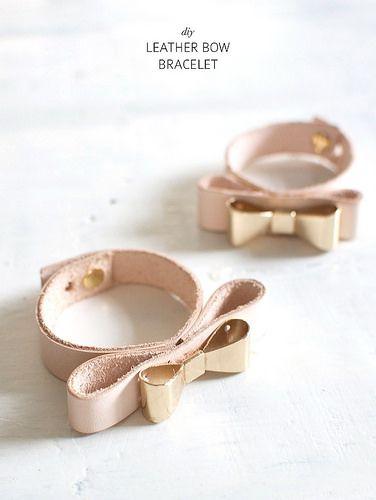 Make a simple leather bow bracelet www.apairandasparediy.com by apairandaspare, via Flickr