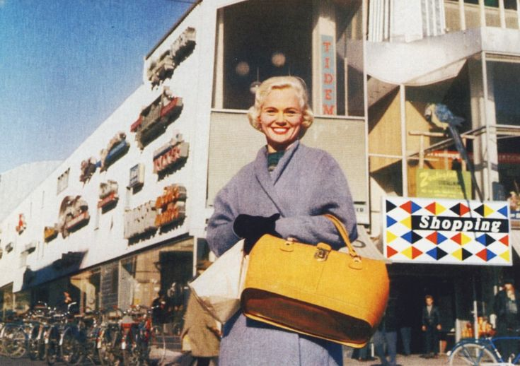 Shopping in Luleå around 1959  Read more at: http://www.ultraswank.net/stores/a-mid-century-shopping-centre-in-northern-sweden/  A Mid-Century Shopping Centre in Northern Sweden