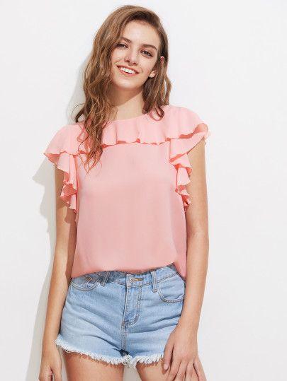 Split Sleeve Frill Ayrıntı Bluz