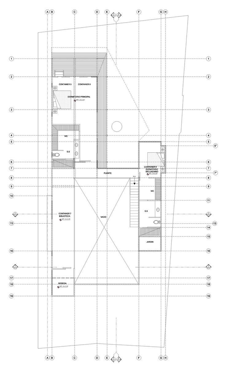 Plano de casa construida con contendores segundo piso