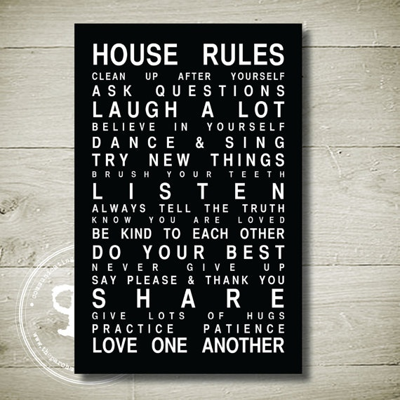 HOUSE RULES  Printable Wall Art 65 x 10 by theparchmentplace, $5.00