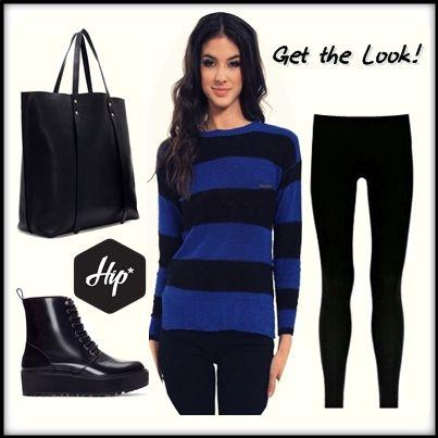 Get The Look!  - Μπλούζα ριγέ μάλλινη, μακρύ μανίκι (Μπλέ-Μαύρο) / Tailor Made knitwear - Ελαστικό κολάν, γυαλιστερό (μαύρο) / DIM  #Hip #Hipyourteez #Womens #Tshirt #Getthelook #Look #Style #Tailor_Made #Knitwear #DIM #Leggings #Clothing #Winter #Collection #Fashion #Blue #BlacΚ #Stripes