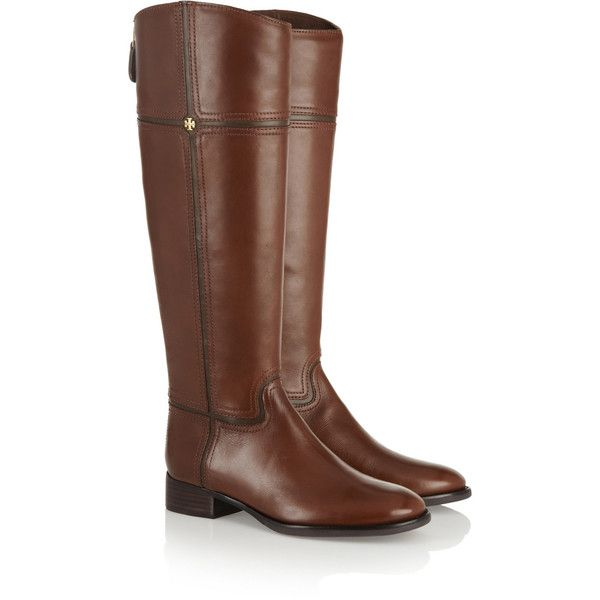 Tory Burch Juliet leather riding boots (1.930 BRL) ❤ liked on Polyvore featuring shoes, boots, knee high leather boots, leather riding boots, zipper boots, brown riding boots and genuine leather riding boots