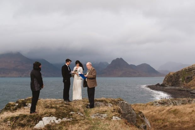 See? There's definitely nothing incredible, moody, or romantic about this coastal wedding on the Isle of Skye.