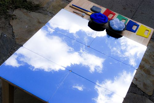 {Painting the sky} What a gorgeous idea! I know Cam would love this. I'm thinking of using shaving cream and adding blue food colouring. These mirrors are cheap from Ikea!
