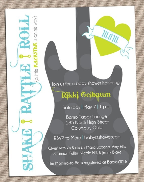 """Shake, Rattle, & Roll""....rockstar baby shower!  <-- reminds me of all the baby rock star at Carters, plus it has the best colors ever on it!"