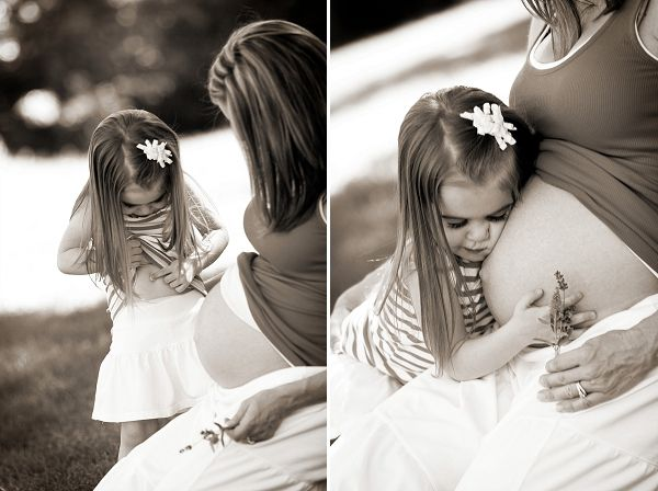 Maternity Photography ideas + inspiration from Colorado photographer Kim Shokouhi Photography on COUTUREcolorado Baby | baby blog for pregnant women + baby bellies with style | featuring little girl + soon to be big sister checking her own baby belly!