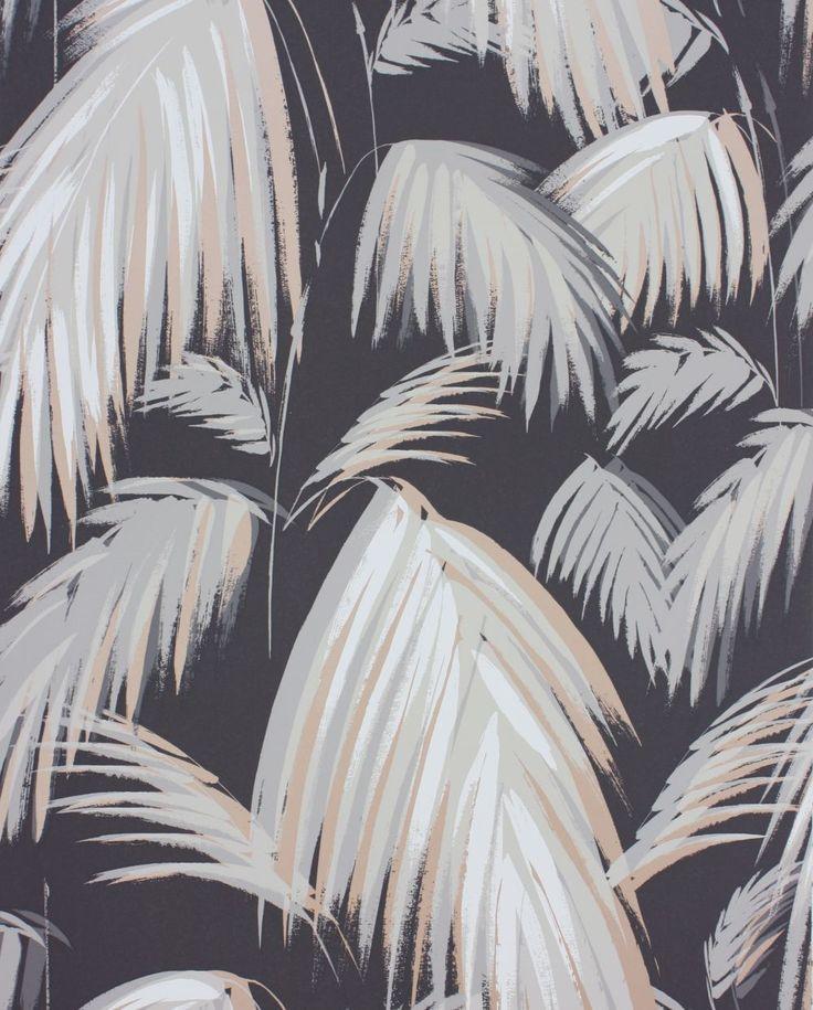 Tropicana Dark Grey, Neutral & Metallic Bronze wallpaper by Matthew Williamson