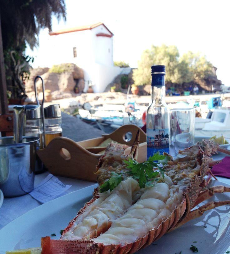 ouzo+lobster=love at skala sykamnias Lesvos
