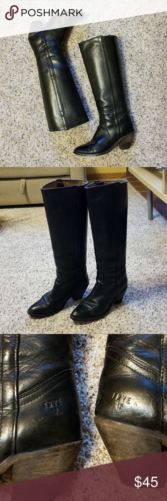 """FRYE - Black Leather Below-the-Knee Riding Boots Gently used Frye riding boots. There are some wrinkles on leather due to normal wear.  Heel height: 2 3/4"""" Frye Shoes Heeled Boots"""