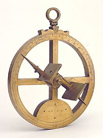 Astrolabe.   This was used by captains at sea in order to calculate the latitude of the ship, by measuring the angle between the horizon and the sun.  This was not a very accurate tool for captain's due to the fact that they did not always take very reliable measurements, especially in inclement weather.