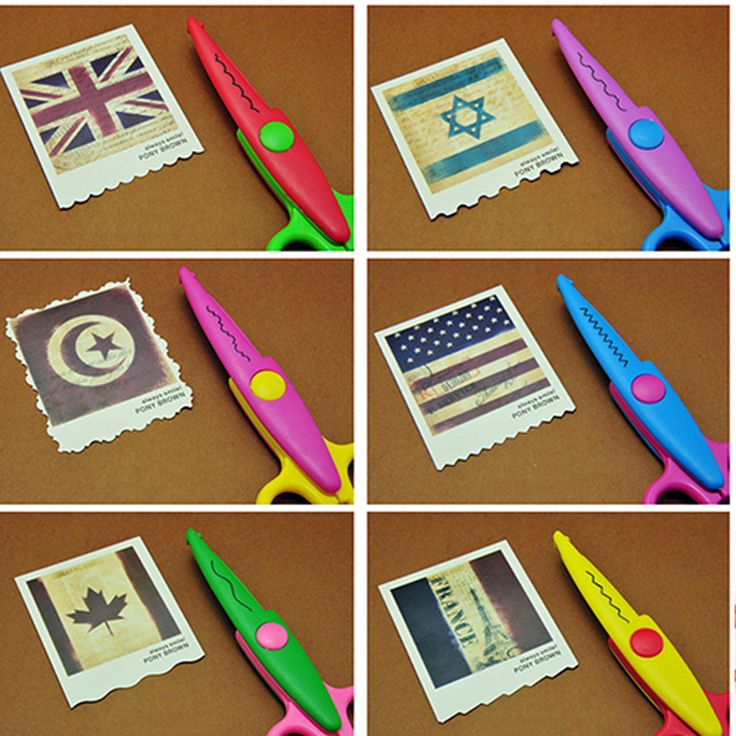6pc/lot Children Kids Paper Craft Scissors 6 Cutting Patterns Curved Edges DIY…