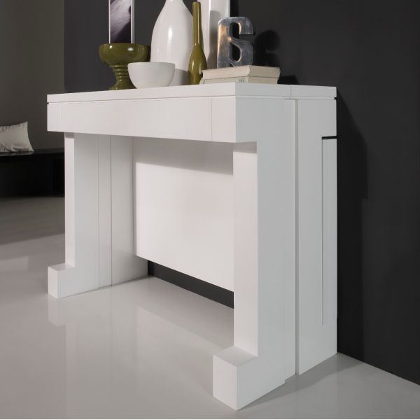 Table console extensible laquée blanc - mobilier