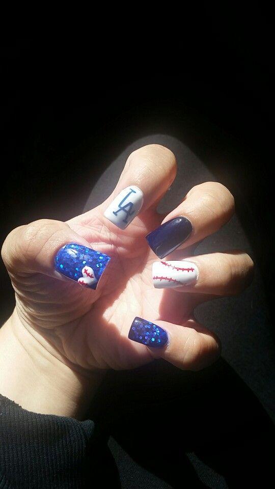Los Angeles Dodger nail design. #LA #Dodgers #BleedBlue #Nails #2016