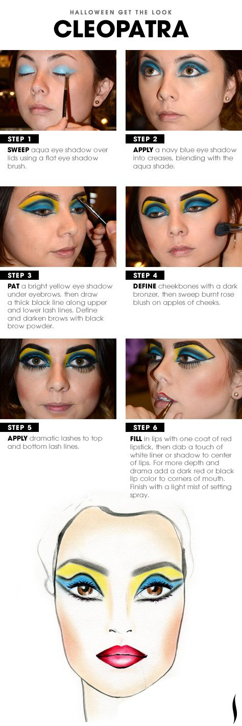 Cleopatra makeup tutorial ... + Cartoon doll lips tutorial | 15 Amazing Halloween Makeup Tutorials That Will Take Your Costume To The Next Level