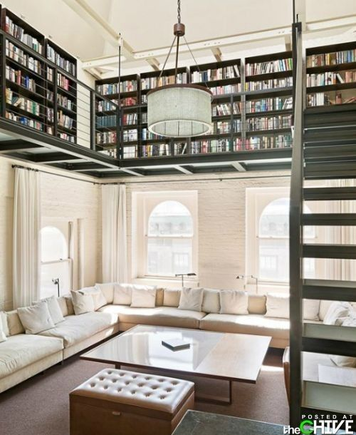 amazing!Bookshelves, Spaces, Ideas, Dreams Libraries, Home Libraries, Dreams House, Living Room, Loft, High Ceilings