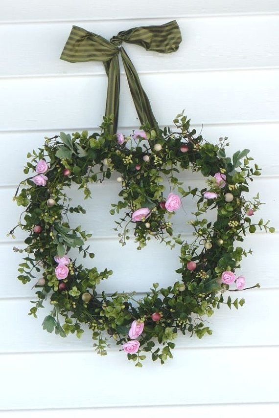 Wreath Boxwood Wreath Heart Wreath Front Door by BlessfilledHome