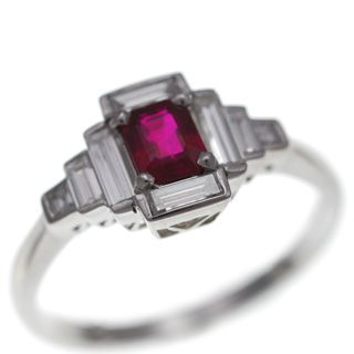 Deco octagon Ruby and baguette Diamond ring